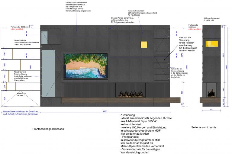 Planung eines Samsung Fernsehers mit einem TV-Lift