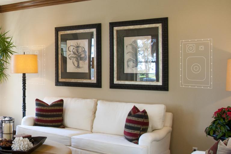 Versteckte Einbaulautsprecher in der Wand (Bildmaterial: ©Sonance)